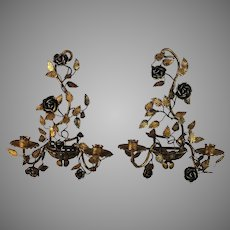 Set of Elegant Floral Wall Candle Sconces