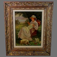 Vintage Oil Painting of a Young Woman Sewing Signed