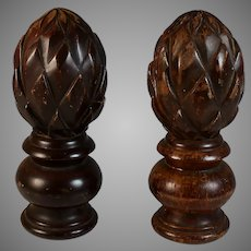 Pair Vintage Solid Wood Carved Newel Post Finial Cap Topper