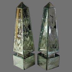 Antique Pair of Etched Venetian Mirrored Obelisks