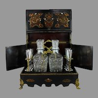 Antique Inlaid Wood Boulle and Mother of Pearl Tantalus Cave a Liqueur
