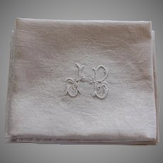 Six Antique French White Monogrammed Napkins J B