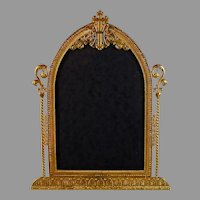 Antique Gilded Brass Cathedral Picture Frame