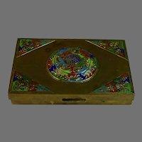 Vintage Chinese Hinged Enameled Brass Box Circa 1900, wood lining