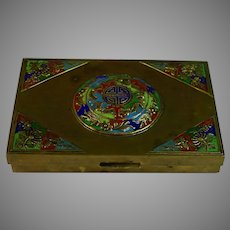 Vintage Chinese Hinged Enameled Brass Box Circa 1900, wood lining