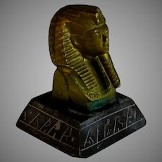 Antique King Tut Bust with Basalt Base