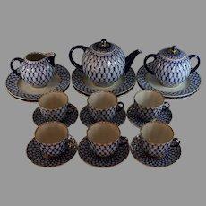 Lomonosov Cobalt Net Russian Flow Blue Porcelain Tea Set w/Gold Gilt 21 Pieces