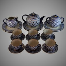 Lomonosov Cobalt Net Russian Flow Blue Porcelain Tea Set w/Gold Gilt 21 Pieces