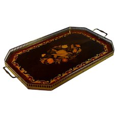 Vintage Marquetry Inlaid Wood Gallery Tray