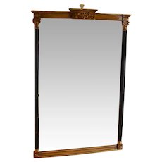 Vintage Black and Gold Empire Style Beveled Wall Mirror