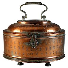 Antique Copper Carriage Warmer with Handle and Small Companion