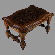 Antique Hand-Carved Wood Bench. Foot Stool, Very Unique