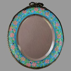 Antique Longwy Brass and Art Pottery Beveled Mirror
