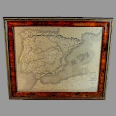 19th C Framed Map of Spain, Portugal and Navarre