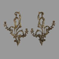 Pair of antique bronze candle sconces with bronze bobeches
