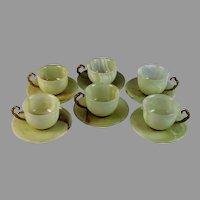 Vintage Coffee Tea Green Onyx Set (6) Cups & (6) Saucer and (1) Sugar Bowl