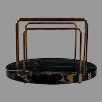 Early 20th c French Marble Nero Portoro Marble Letter Holder