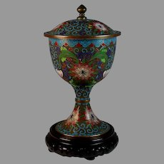 Vintage Chinese Cloisonne Champleve Covered Urn Box with Stand