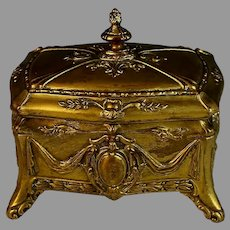 Antique French Gilded Box with Wine Colored Velvet Lining