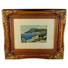 Stunning Watercolor of a Mediterranean View Signed