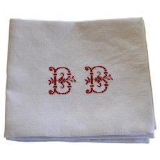 Set of 8 Antique French White Monogrammed Napkins B B plus 1