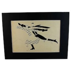 Authentic French Art Drawing: Figure Skaters