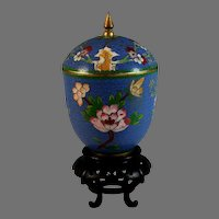 Vintage Blue Chinese Cloisonne Urn with Stand