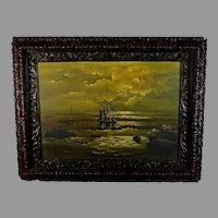 Dutch School Oil Painting of a Sunset at Sea with a Gutta Percha Frame 21""