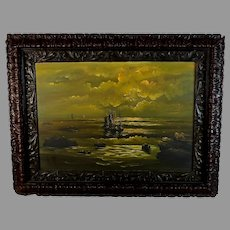 """Dutch School Oil Painting of a Sunset at Sea with a Gutta Percha Frame 21"""""""