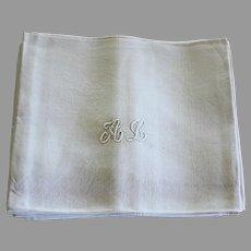 10 Antique French White Monogrammed Napkins A L plus 1