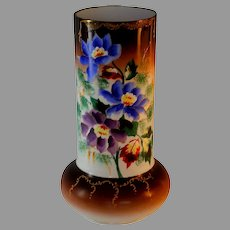 Late 19th Early 20th Cent. Bristol Glass Vase Painted Flower Decoration