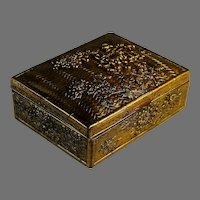 Vintage Gilded Bronze Trinket Box with Velvet Lining