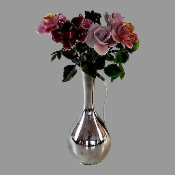 Cheerful Vintage Collection of Porcelain Flowers in Vase, Roses