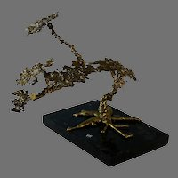 Abstract Gilded Bronze Sculpture of a Tree