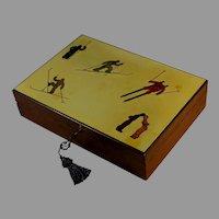 Vintage Mid Century Wood Box with Ski Theme and Key