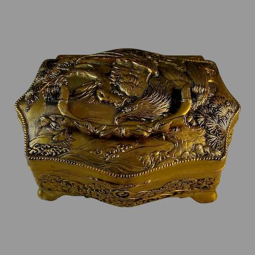 Vintage Gilded Silver Plate Chinese Repousse Dresser Box with Handle