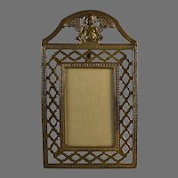 Vintage Bronze Photo Frame with Putti and Lattice Border and Easel
