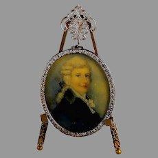 Antique Hand-Painted Miniature Portrait of a Scottish Gentleman