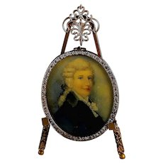 Antique Hand-Painted Miniature Portrait of a Scottish Gentleman