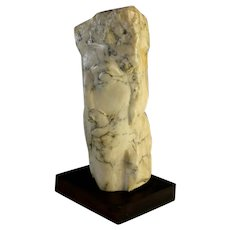 Original Abstract Alabaster Sculpture of a Head of Columbus, signed H. Lampe