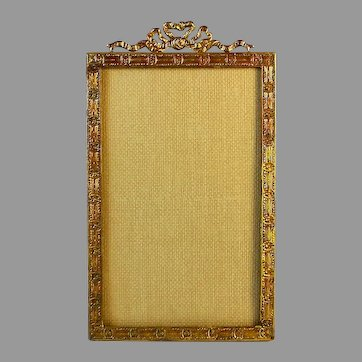 Antique French Bow Top Gilt Metal Photo Frame