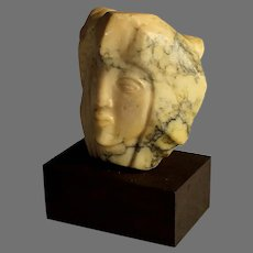 Small Abstract Alabaster Sculpture of a Head, signed H. Lampe