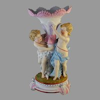 Charming Italian Porcelain Centerpiece with Two Putti