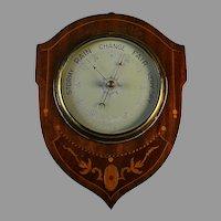 Vintage English Aneroid Barometer Inlaid Wood Case