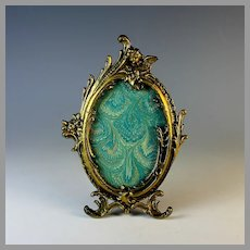 Antique Bronze Oval Photo Frame with Easel and Putti