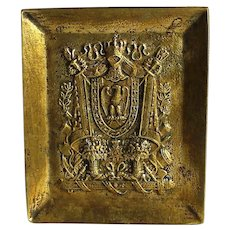 Le Verrier Vintage Bronze Card Tray Heraldry