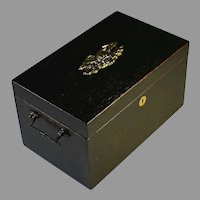 Antique Wood Document Box with Lock, Eagle and Handles