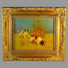 Oil Painting of Two Spaniels by Eugene Joseph Constant Petit (1839- 1886)