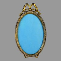 Antique Bow Top Oval Bronze Photo Frame with Easel