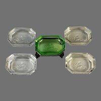 Five Czech Glass Intaglios ~ One Jeweled Brass Holder Open Salt Cellar, Dip